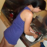 Zuzinka washing dishes with no panties on, picture 4 :-)